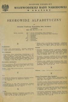 Dziennik Urzędowy Wojewódzkiej Rady Narodowej w Gdańsku. 1958, Skorowidz alfabetyczny