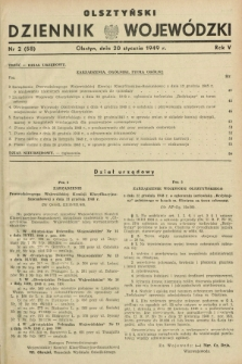 Olsztyński Dziennik Wojewódzki. R.5, nr 2 (20 stycznia 1949) = nr (58)