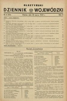 Olsztyński Dziennik Wojewódzki. R.5, nr 6 (20 marca 1949) = nr (62)