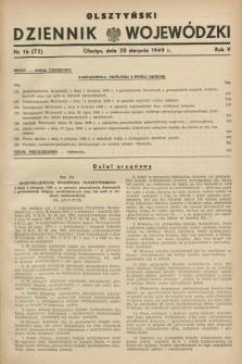 Olsztyński Dziennik Wojewódzki. R.5, nr 16 (20 sierpnia 1949) = nr (72)