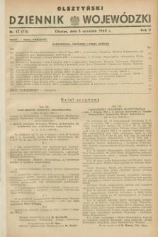 Olsztyński Dziennik Wojewódzki. R.5, nr 17 (5 września 1949) = nr (73)