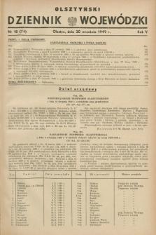 Olsztyński Dziennik Wojewódzki. R.5, nr 18 (20 września 1949) = nr (74)