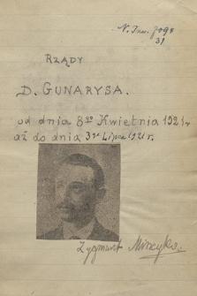 """Kronika ważniejszych wypadków w Grecji, głównie politycznych, pisana od dnia 3 lutego 1915 r. do 25 czerwca 1925 r. przez Zygmunta Mineykę. T. 31: """"Rządy D. Gunarysa [Dimitrios Gunaris], od dnia 8go kwietnia 1921 aż do dnia 3go lipca 1921 r."""""""