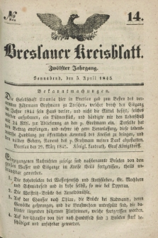 Breslauer Kreisblatt. Jg.12, № 14 (5 April 1845)