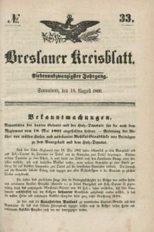 Breslauer Kreisblatt. Jg.27, № 33 (18 August 1860)