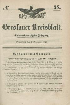 Breslauer Kreisblatt. Jg.27, № 35 (1 September 1860) + dod.