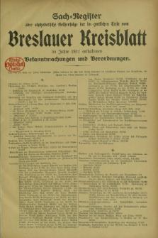 Breslauer Kreisblatt : amtliches Organ für den Landkreis Breslau. Jg.79, Spis rzeczy (1911)