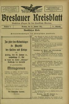 Breslauer Kreisblatt : amtliches Organ für den Landkreis Breslau. Jg.79, nr 3 (11 Januar 1911)
