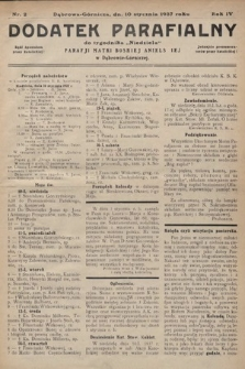 """Dodatek Parafjalny do tygodnika """"Niedziela"""" Parafji Matki Boskiej Anielskiej wDąbrowie-Górniczej. 1937, nr2"""