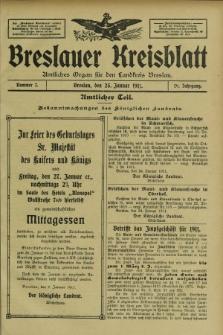 Breslauer Kreisblatt : amtliches Organ für den Landkreis Breslau. Jg.79, nr 7 (25 Januar 1911) + dod.