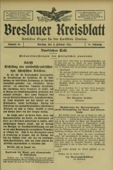 Breslauer Kreisblatt : amtliches Organ für den Landkreis Breslau. Jg.79, nr 10 (4 Februar 1911) + dod.