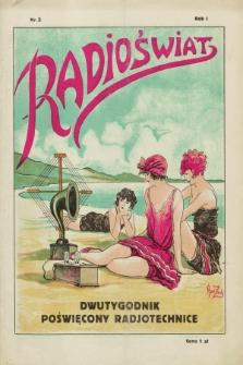 Radioświat : dwutygodnik poświęcony radjotechnice. R.1, nr 2 (15 kwietnia 1925) + wkładka