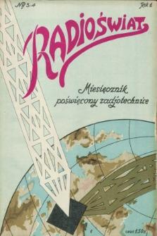 Radioświat : miesięcznik poświęcony radjotechnice. R.1, nr 3/4 (15 maja 1925) + wkładki