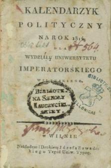 Kalendarzyk Polityczny na Rok 1814 dla Wydziału Uniwersytetu Imperatorskiego Wileńskiego
