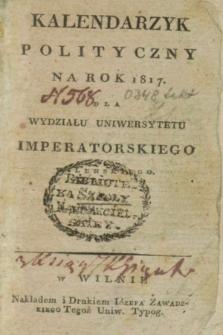 Kalendarzyk Polityczny na Rok 1817 dla Wydziału Uniwersytetu Imperatorskiego Wileńskiego