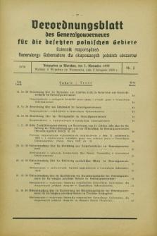 Verordnungsblatt des Generalgouverneurs für die besetzten polnischen Gebiete = Dziennik Rozporządzeń Generalnego Gubernatora dla okupowanych polskich obszarów. 1939, Nr. 3 (2 November)
