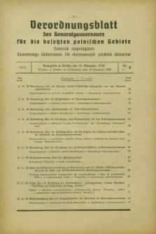 Verordnungsblatt des Generalgouverneurs für die besetzten polnischen Gebiete = Dziennik Rozporządzeń Generalnego Gubernatora dla okupowanych polskich obszarów. 1939, Nr. 6 (20 November)