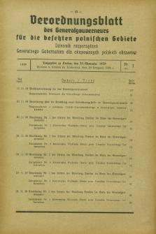 Verordnungsblatt des Generalgouverneurs für die besetzten polnischen Gebiete = Dziennik Rozporządzeń Generalnego Gubernatora dla okupowanych polskich obszarów. 1939, Nr. 7 (20 November)