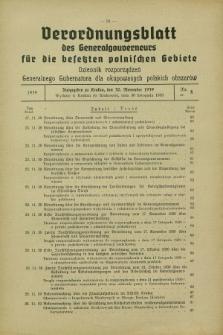 Verordnungsblatt des Generalgouverneurs für die besetzten polnischen Gebiete = Dziennik Rozporządzeń Generalnego Gubernatora dla okupowanych polskich obszarów. 1939, Nr. 8 (30 November)