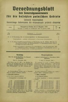 Verordnungsblatt des Generalgouverneurs für die besetzten polnischen Gebiete = Dziennik Rozporządzeń Generalnego Gubernatora dla okupowanych polskich obszarów. 1939, Nr. 10 (12 Dezember)