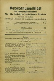 Verordnungsblatt des Generalgouverneurs für die besetzten polnischen Gebiete = Dziennik Rozporządzeń Generalnego Gubernatora dla okupowanych polskich obszarów. 1939, Nr. 11 (18 Dezember)