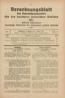 Verordnungsblatt des Generalgouverneurs für die besetzten polnischen Gebiete = Dziennik Rozporządzeń Generalnego Gubernatora dla okupowanych polskich obszarów. 1940, Teil = Cz.1, Nr. 23 (1 April)