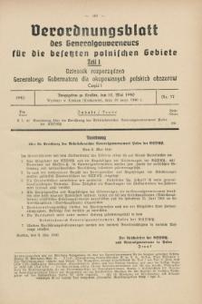 Verordnungsblatt des Generalgouverneurs für die besetzten polnischen Gebiete = Dziennik Rozporządzeń Generalnego Gubernatora dla okupowanych polskich obszarów. 1940, Teil = Cz.1, Nr. 37 (10 Mai)