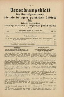 Verordnungsblatt des Generalgouverneurs für die besetzten polnischen Gebiete = Dziennik Rozporządzeń Generalnego Gubernatora dla okupowanych polskich obszarów. 1940, Teil = Cz.1, Nr. 38 (10 Mai)