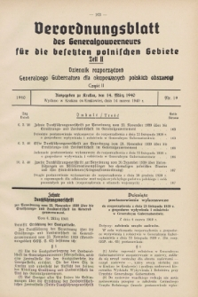 Verordnungsblatt des Generalgouverneurs für die besetzten polnischen Gebiete = Dziennik Rozporządzeń Generalnego Gubernatora dla okupowanych polskich obszarów. 1940, Teil = Cz.2, Nr. 19 (14 März)