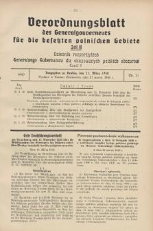 Verordnungsblatt des Generalgouverneurs für die besetzten polnischen Gebiete = Dziennik Rozporządzeń Generalnego Gubernatora dla okupowanych polskich obszarów. 1940, Teil = Cz.2, Nr. 21 (21 März)