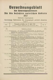 Verordnungsblatt des Generalgouverneurs für die besetzten polnischen Gebiete = Dziennik Rozporządzeń Generalnego Gubernatora dla okupowanych polskich obszarów. 1940, Teil = Cz.2, Nr. 28 (19 April)