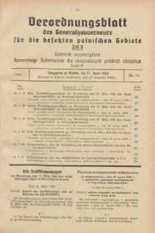 Verordnungsblatt des Generalgouverneurs für die besetzten polnischen Gebiete = Dziennik Rozporządzeń Generalnego Gubernatora dla okupowanych polskich obszarów. 1940, Teil = Cz.2, Nr. 30 (27 April)