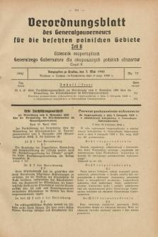 Verordnungsblatt des Generalgouverneurs für die besetzten polnischen Gebiete = Dziennik Rozporządzeń Generalnego Gubernatora dla okupowanych polskich obszarów. 1940, Teil = Cz.2, Nr. 33 (3 Mai)