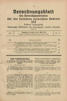 Verordnungsblatt des Generalgouverneurs für die besetzten polnischen Gebiete = Dziennik Rozporządzeń Generalnego Gubernatora dla okupowanych polskich obszarów. 1940, Teil = Cz.2, Nr. 34 (6 Mai)