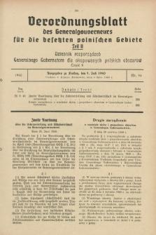 Verordnungsblatt des Generalgouverneurs für die besetzten polnischen Gebiete = Dziennik Rozporządzeń Generalnego Gubernatora dla okupowanych polskich obszarów. 1940, Teil = Cz.2, Nr. 46 (5 Juli)