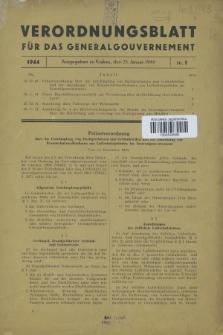 Verordnungsblatt für das Generalgouvernement. 1944, Nr. 1 (25 Janunar)