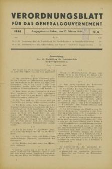 Verordnungsblatt für das Generalgouvernement. 1944, Nr. 6 (12 Februar)