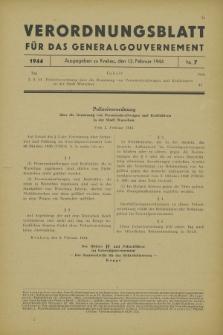 Verordnungsblatt für das Generalgouvernement. 1944, Nr. 7 (12 Februar)