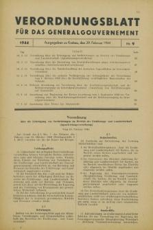 Verordnungsblatt für das Generalgouvernement. 1944, Nr. 9 (29 Februar)