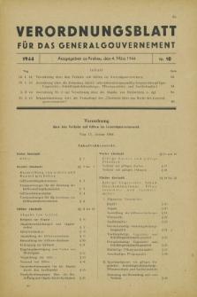 Verordnungsblatt für das Generalgouvernement. 1944, Nr. 10 (4 März)