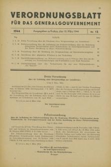 Verordnungsblatt für das Generalgouvernement. 1944, Nr. 12 (10 März)