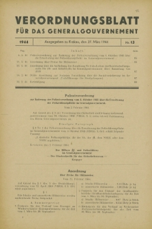 Verordnungsblatt für das Generalgouvernement. 1944, Nr. 13 (27 März)
