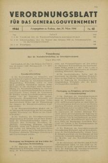 Verordnungsblatt für das Generalgouvernement. 1944, Nr. 15 (29 März)