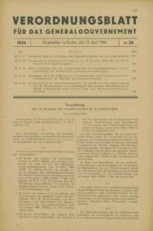 Verordnungsblatt für das Generalgouvernement. 1944, Nr. 20 (18 April)