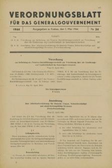 Verordnungsblatt für das Generalgouvernement. 1944, Nr. 24 (1 Mai)