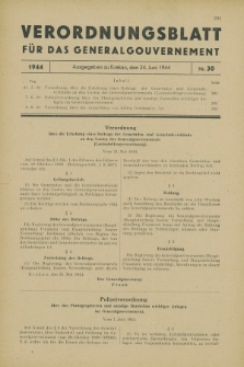 Verordnungsblatt für das Generalgouvernement. 1944, Nr. 30 (24 Juni)