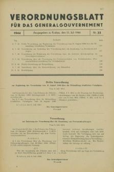Verordnungsblatt für das Generalgouvernement. 1944, Nr. 33 (15 Juli)