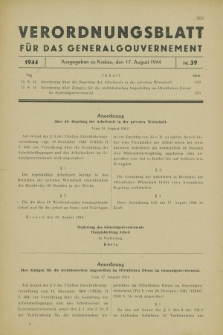 Verordnungsblatt für das Generalgouvernement. 1944, Nr. 39 (17 August)