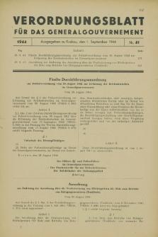 Verordnungsblatt für das Generalgouvernement. 1944, Nr. 41 (1 September)