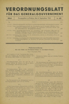 Verordnungsblatt für das Generalgouvernement. 1944, Nr. 42 (6 September)
